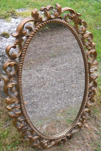 Oval Pierced Gilt Hanging Wall Mirror